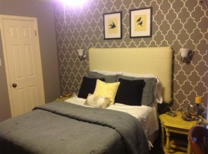 Finished Yellow and Grey Guestroom
