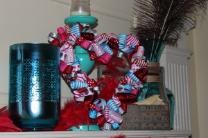 Heart looped ribbon wreath