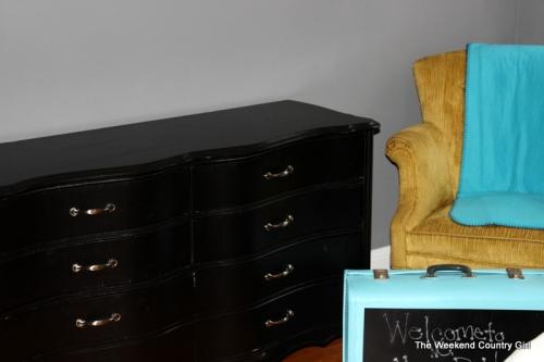 Black Dresser and salvaged chair