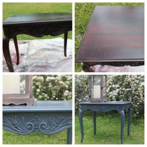 spray painted ornate side table