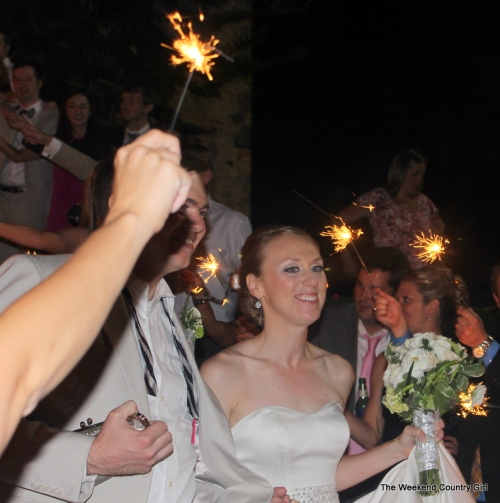 sparklers leaving the wedding