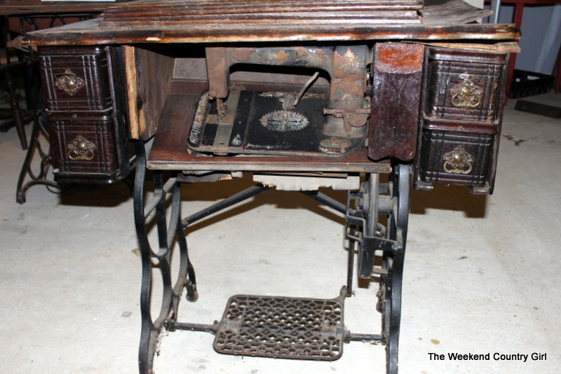 Repurposing a treadle sewing cabinet into a side table the weekend country girl - Four ways to repurpose an old sewing machine ...