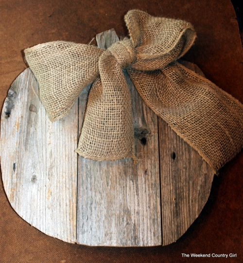 burlap ribbon on reclaimed wood pumpkin