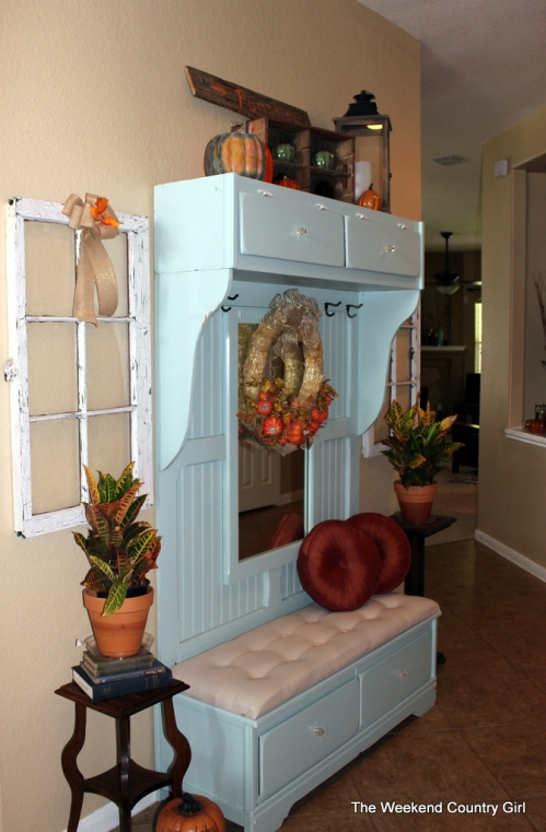 Mudroom Bench Decorated for fall