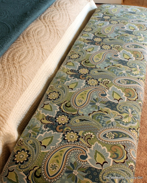 teal paisley colored fabric