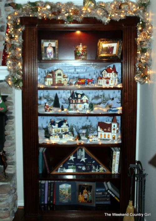 village in bookcase
