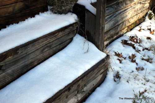 snow on the steps