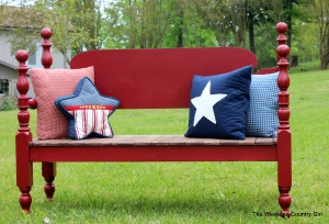 finished red headboard bench