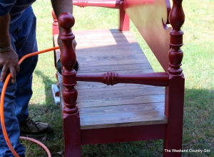 headboard bench red