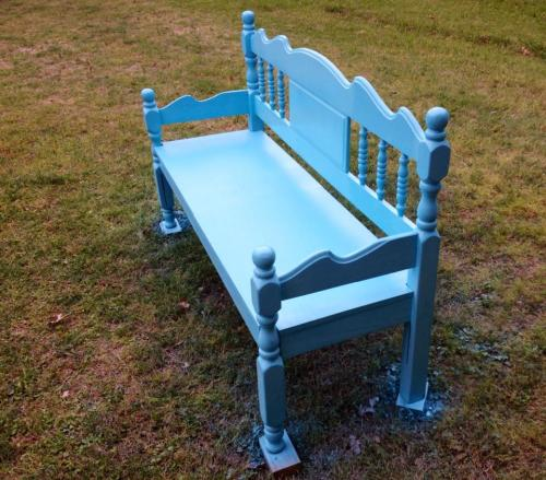 painted turqoise bench