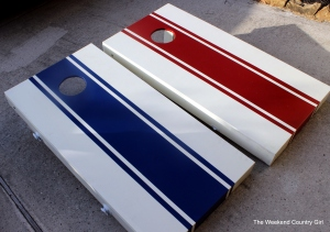 red and blue corn hole set