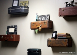 decorated suitcase wall