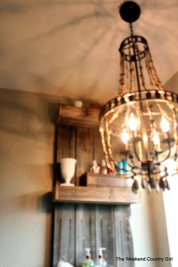 wood bead look chandelier
