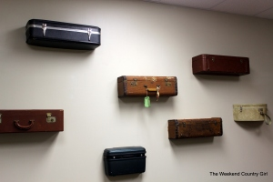 suitcases on wall