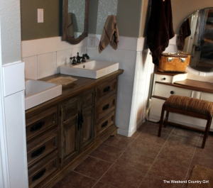 bathroom vanity using restoration hardware finish