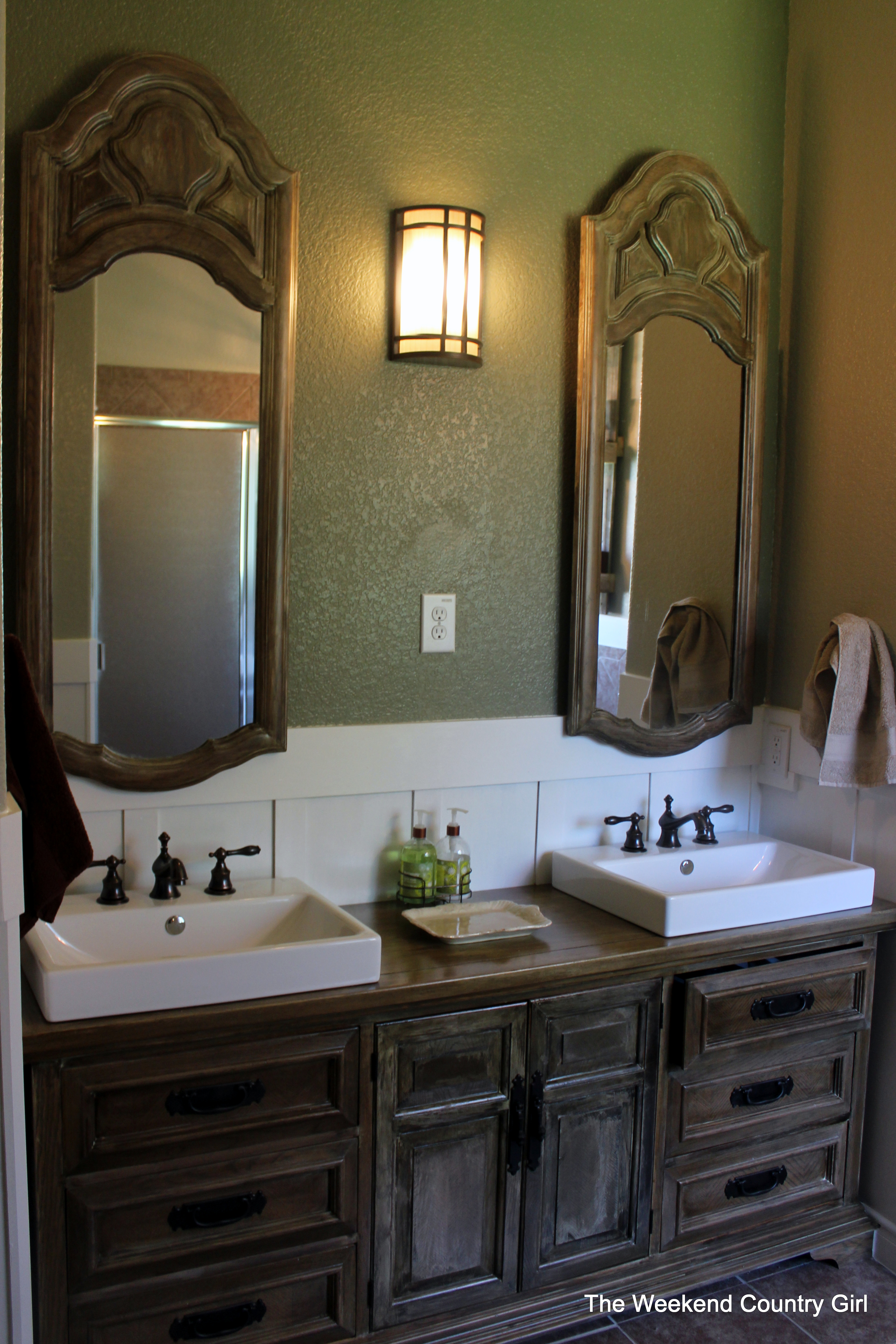 Zinc Bathroom Sinks turning a dresser into a bathroom vanity | the weekend country girl
