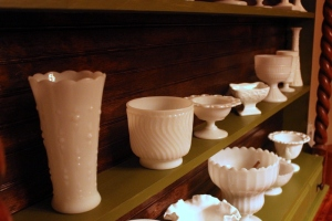 milk glass in hutch