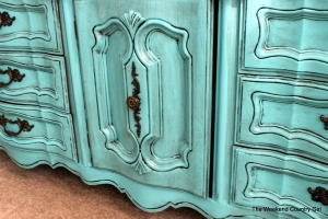 close up of turquoisedresser
