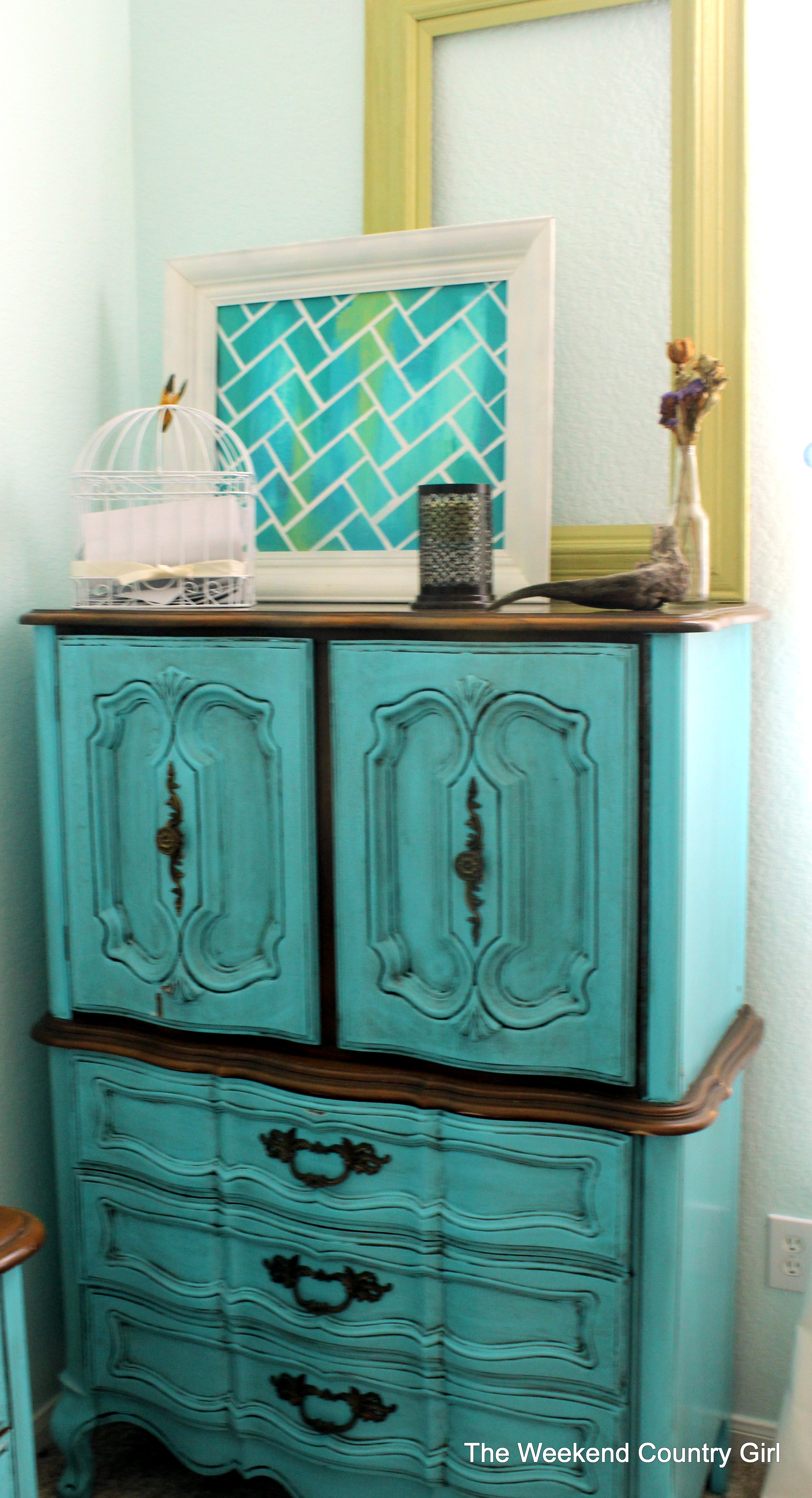 dixie sideview technique nighstand blue turquoise make to painters allthingsnewagain big and paint beginner painted nightstand blended mistakes fix furniture how belle