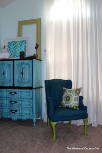 teal painted fabric