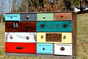 painted mulitcolored dresser
