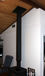 sheetrock wall near stovepipe