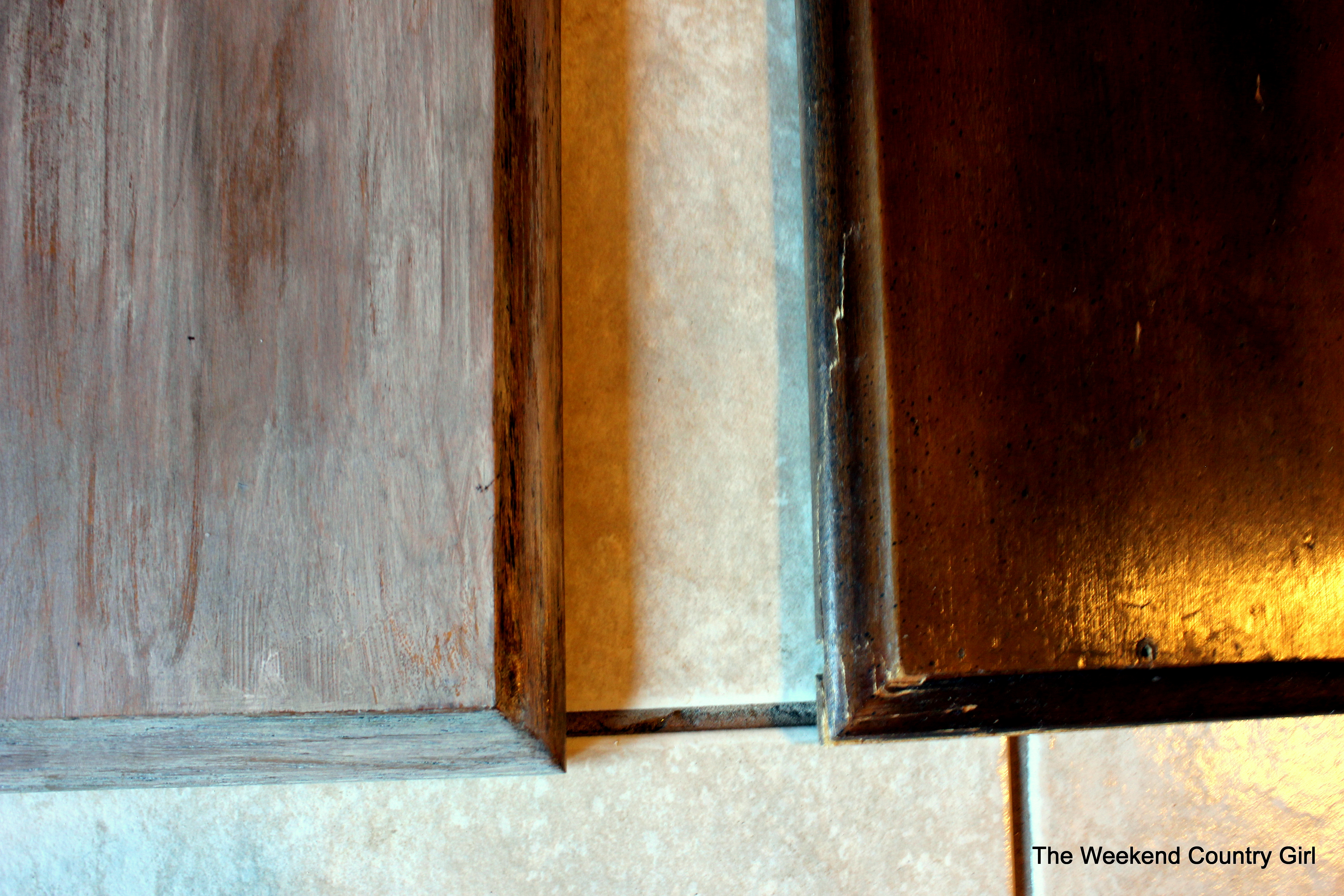 Refinishing a wood bathroom vanity part 1 preparation amp stripping - Weathered Wood Stain Tutorail10 By The Weekend Country Girl On Remodelaholic