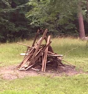 reclaimed wood burn pile