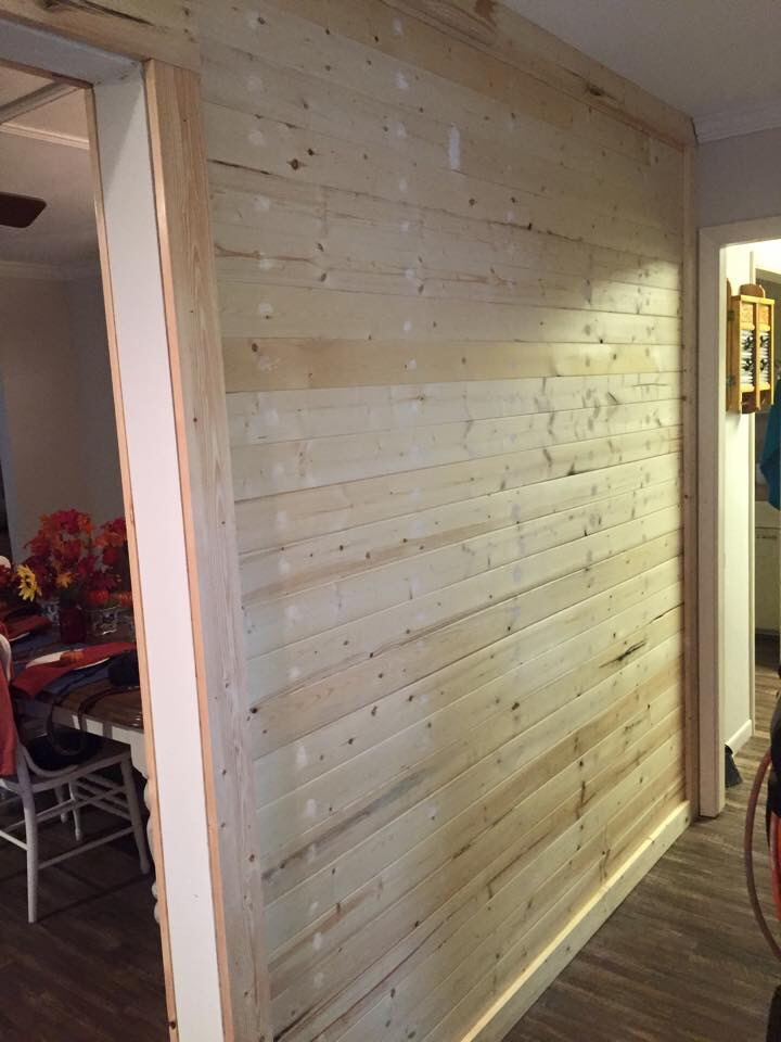 After The Wall Is Taken Care Of, I Will Be Sanding A Beautiful Two Inch  Thick Live Edge Cedar Plank That Is Going To Be Our Bench And The Wall  Behind The ...